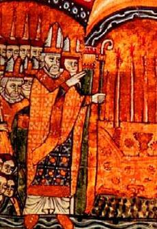 Papież Urban II poświęca nowe opactwo w Cluny. Miniatura z epoki. Istniejące od X wieku opactwo w Cluny stało się jednym z najważniejszych ośrodków, w którym propagowano idę reformy Kościoła. W XI wieku szereg wybitnych papieży – m.in. Grzegorz VII i Urban II – wywodził się ze środowiska kongregacji mnichów clunackich