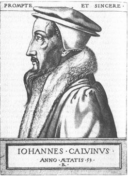 Жан Кальвин.  Гравюра XVI в.