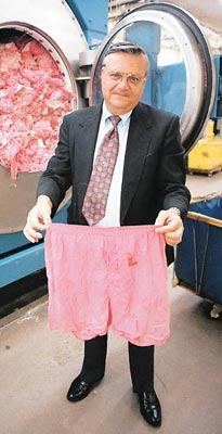 Sheriff Joe Arpaio shows the pink underwear he makes inmates wear